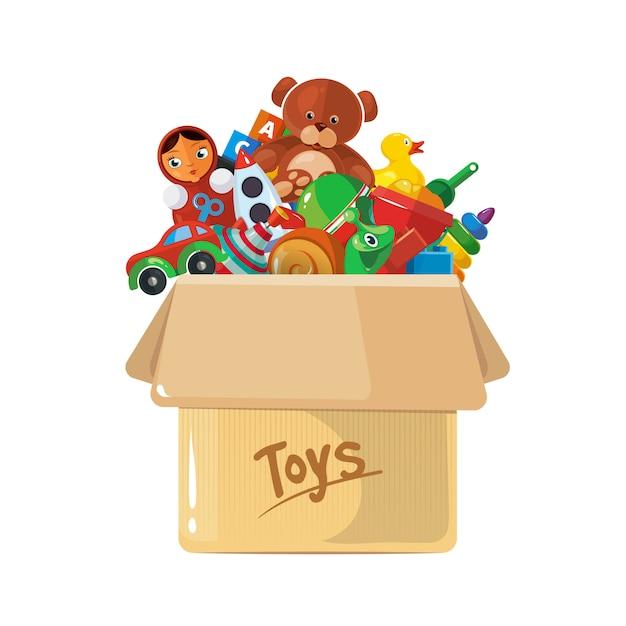 Illustration der pappschachtel für kinderspielzeug. Premium Vektoren