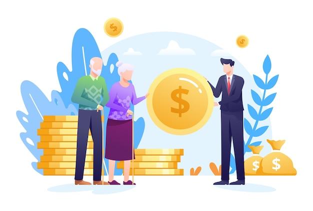 Illustration der pensionskasse mit einem agenten, der älteren menschen münzen und geldbeutel als konzept gibt. diese abbildung kann für website, zielseite, web, app und banner verwendet werden. Premium Vektoren
