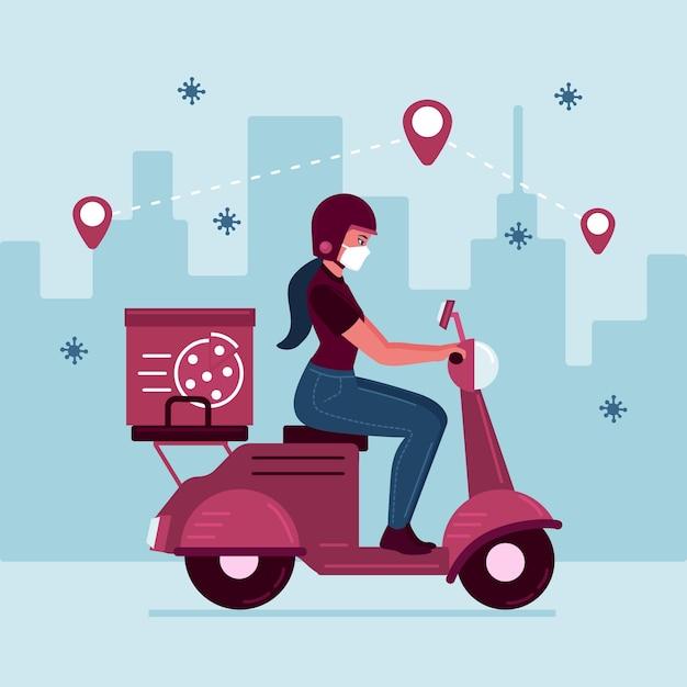 Illustration der person, die lieferaktivitäten ausführt Kostenlosen Vektoren