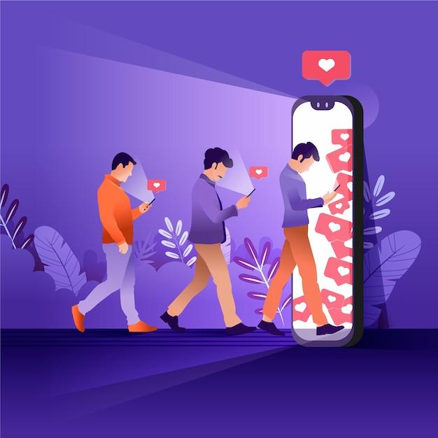 Illustration der person süchtig nach social media Kostenlosen Vektoren