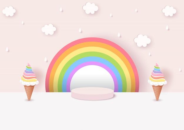 Illustration der regenbogen-eistüte verziert mit rosa hintergrund auf 3d art Premium Vektoren