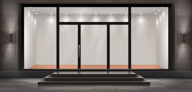 Foto Auf Glas Beleuchtet illustration der schaufenster mit stufen und eingangstür, glas
