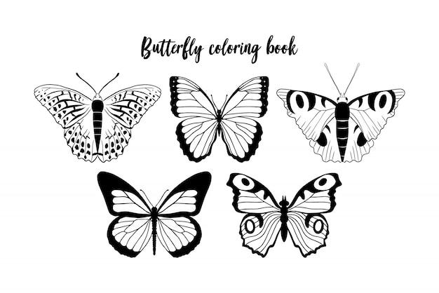 Illustration der schwarzweiss-schmetterlingskontur. malbuch vorlage Premium Vektoren