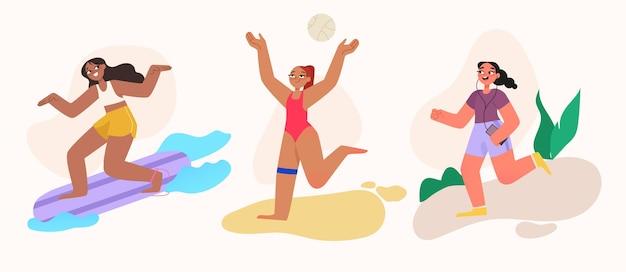 Illustration der sommersportkollektion Kostenlosen Vektoren