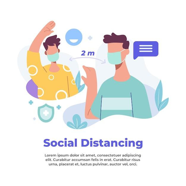 Illustration der sozialen distanzierung während einer pandemie Premium Vektoren