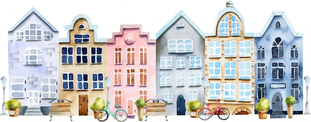 Illustration der straße der skandinavischen häuser des aquarells Premium Vektoren
