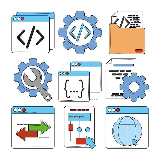Illustration der suchmaschinenoptimierungssymbole der digitalen software der webentwicklung Premium Vektoren