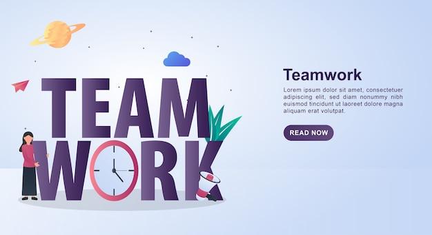 Illustration der teamarbeit mit uhr und megaphon. Premium Vektoren