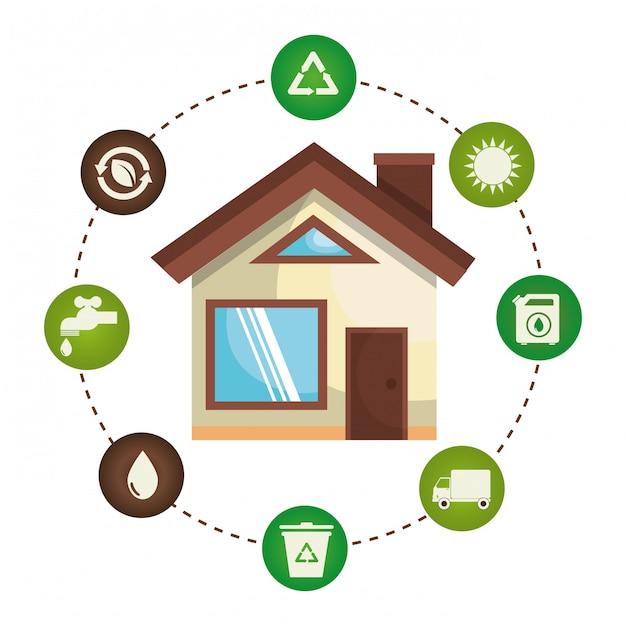 Illustration der umwelt und ökologie stellen icons Kostenlosen Vektoren