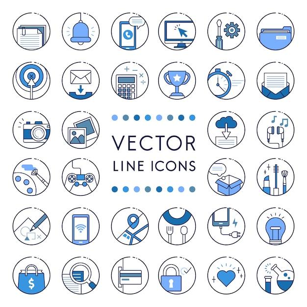 Illustration der vektorlinie sammlung Kostenlosen Vektoren