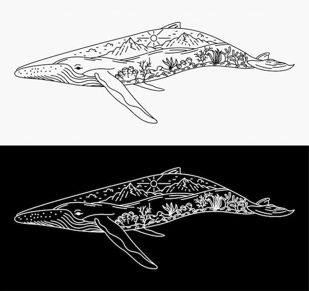 Illustration der verschmelzung von walen mit landschaften, monoline-design Premium Vektoren