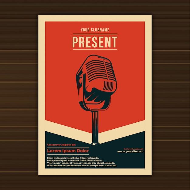 Illustration der weinlese-musik-ereignis-plakat-schablone Premium Vektoren