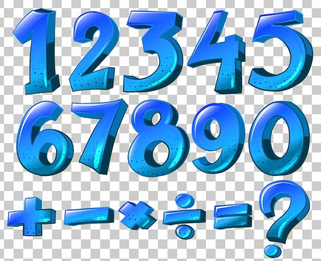Illustration der zahlen und mathe-symbole in blauer farbe auf weißem hintergrund Kostenlosen Vektoren