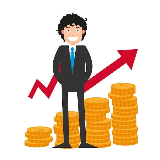 Illustration der zielerreichung. glücklicher geschäftsmann mit viel geld Premium Vektoren