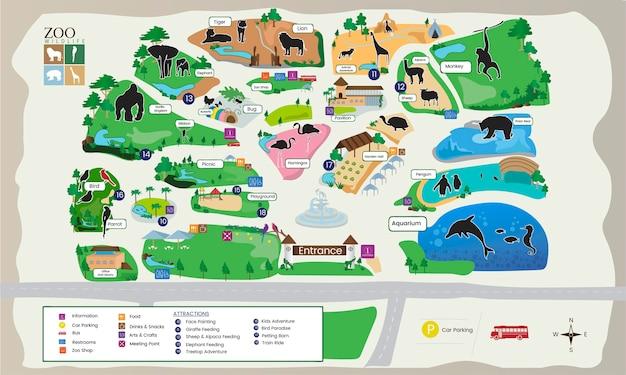 Illustration der zooparkkarte Kostenlosen Vektoren