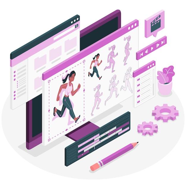 Illustration des animationskonzepts (bewegung) Kostenlosen Vektoren