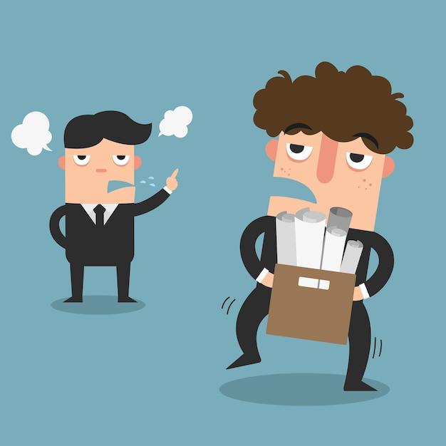 Illustration des arbeitnehmers wurde gezwungen, von seinem arbeitgeber zu entlassen Premium Vektoren