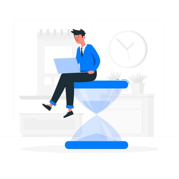 Illustration des arbeitszeitkonzepts Kostenlosen Vektoren
