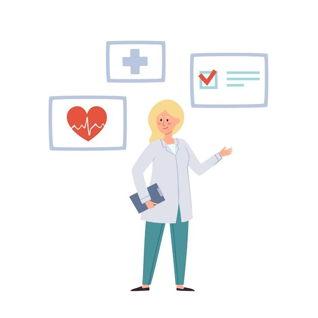Illustration des arztes und der medizinischen ikone lokalisiert auf weiß Premium Vektoren