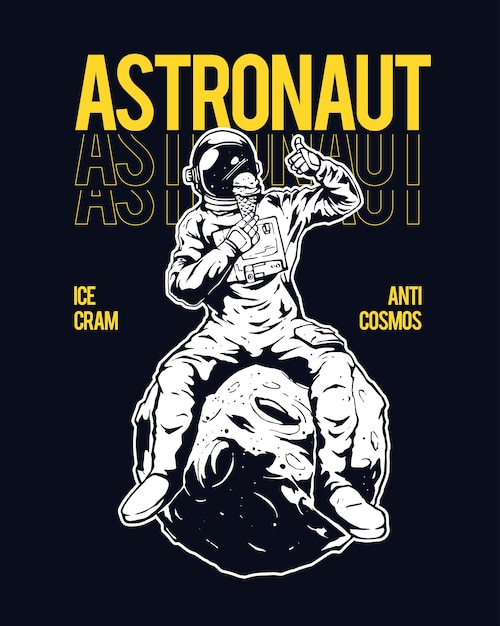 Illustration des astronauten, der auf dem mond sitzt Premium Vektoren