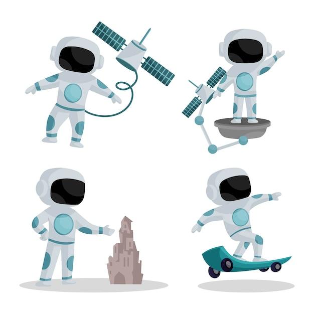 Illustration des astronauten-zeichensatzes Premium Vektoren
