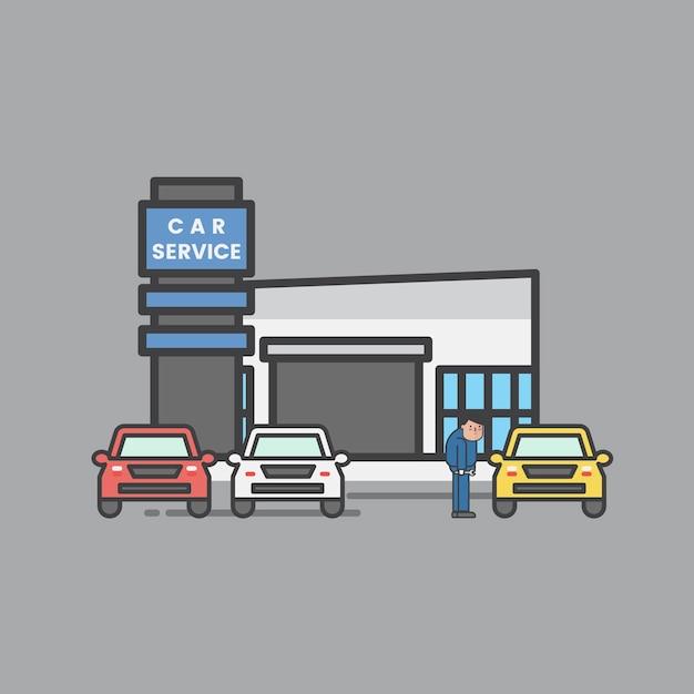 Illustration des autogaragensatzes Kostenlosen Vektoren