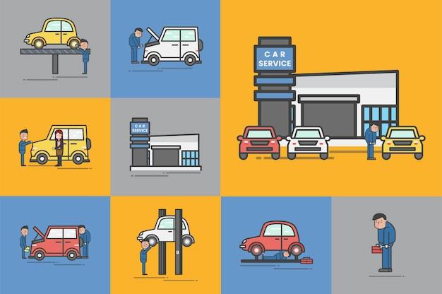 Illustration des autogaragevektorsatzes Kostenlosen Vektoren