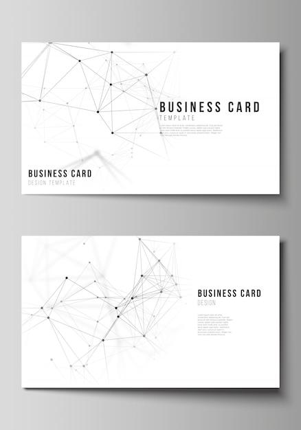 Illustration des bearbeitbaren layouts von zwei kreativen visitenkarten-design-vorlagen. technologie, wissenschaft, medizinisches konzept. Premium Vektoren