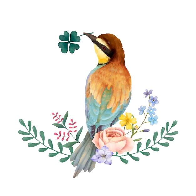 Illustration des bienenesservogels lokalisiert auf weißem hintergrund Kostenlosen Vektoren