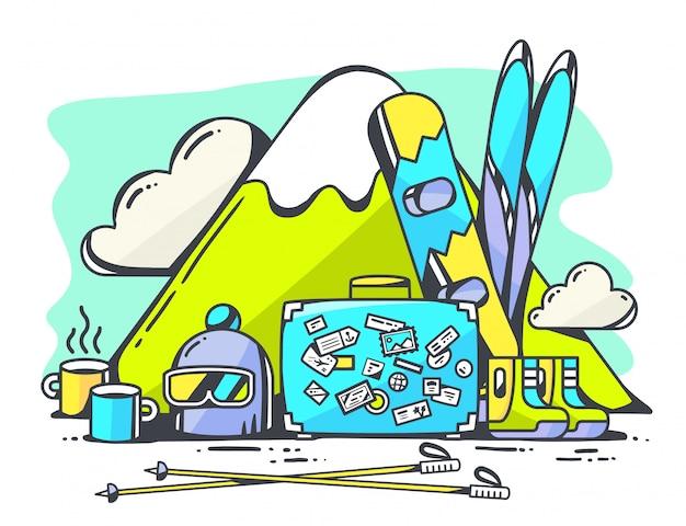 Illustration des blauen koffers und des winterreisezubehörs auf grünem hintergrund. Premium Vektoren
