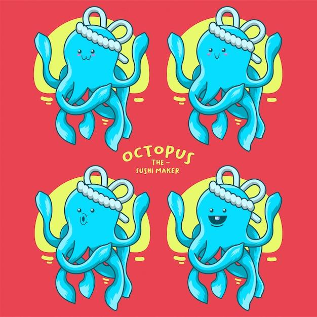 Illustration des blauen tintenfischsushiherstellers für aufkleberclipart-maskottchenlogo Premium Vektoren