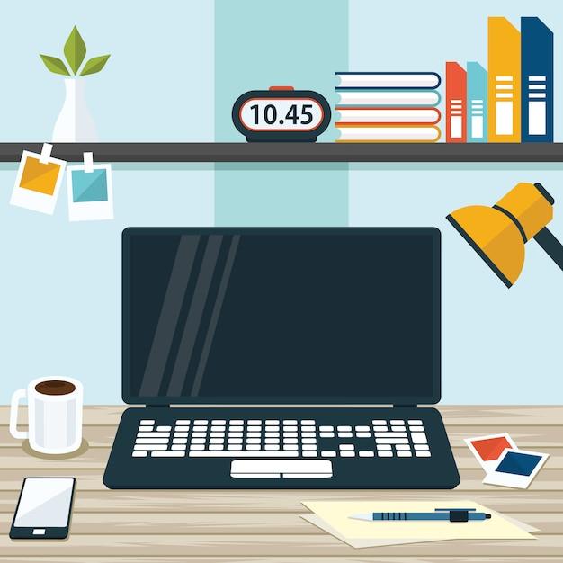 Illustration des büro-arbeitsplatz-tabellen-computer-geschäfts-flachen designs Premium Vektoren