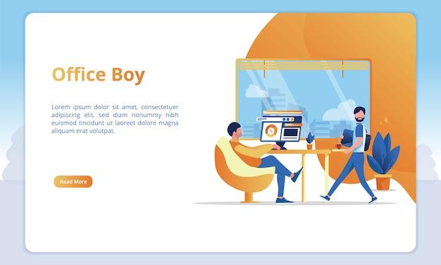 Illustration des bürojungen im büro einer arbeitskraft für schablonen einer geschäftslandungsseite Premium Vektoren