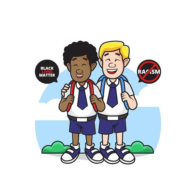 Illustration des charakters der weißen und schwarzen leute gehen sie zur schule mit stop-rassismus-symbol Premium Vektoren