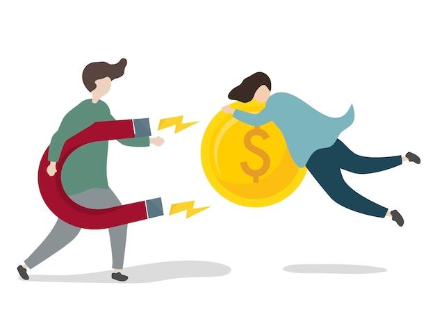 Illustration des charakters mit geschäftsinvestition Kostenlosen Vektoren