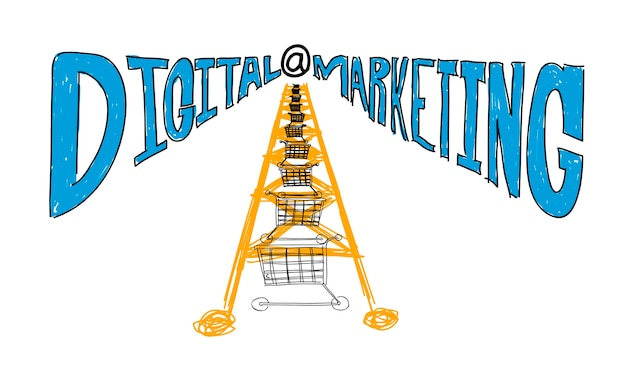 Illustration des digitalen marketings Kostenlosen Vektoren