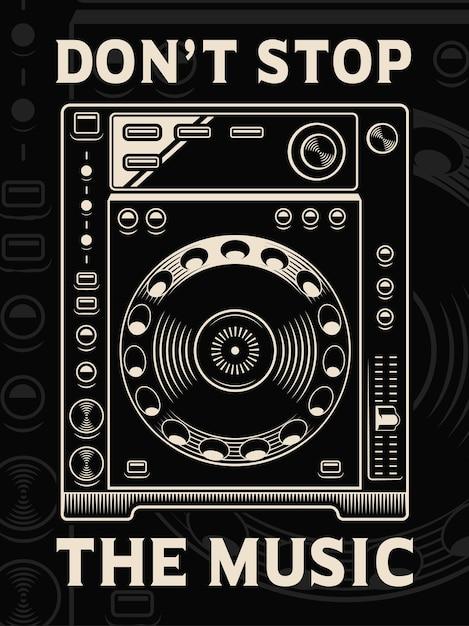 Illustration des dj-spielers auf dunklem hintergrund. text befindet sich in der separaten gruppe. Premium Vektoren