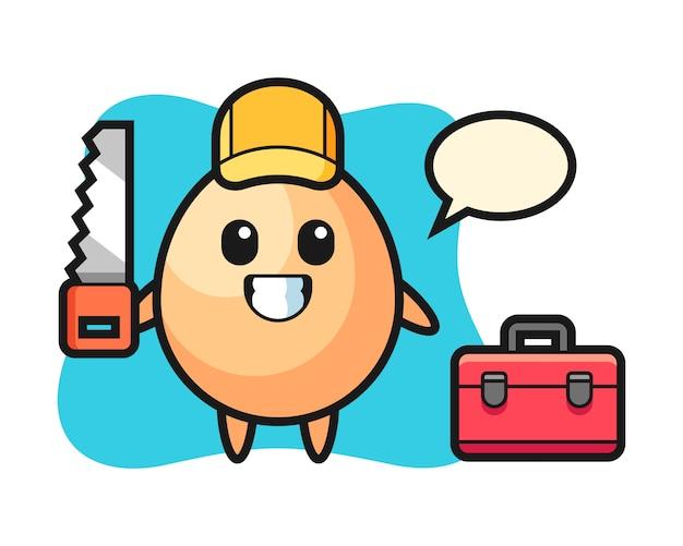 Illustration des eiercharakters als holzarbeiter, niedlicher stilentwurf für t-shirt, aufkleber, logoelement Premium Vektoren