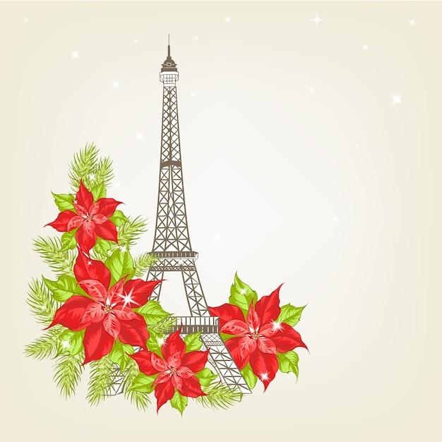 Illustration des eiffelturms auf einem weinlesehintergrund mit weihnachtsblumen. Kostenlosen Vektoren