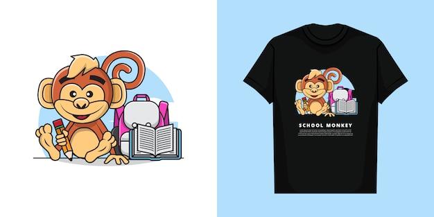 Illustration des entzückenden affen, der einen bleistift bereit zurück zur schule mit t-shirt design hält Premium Vektoren