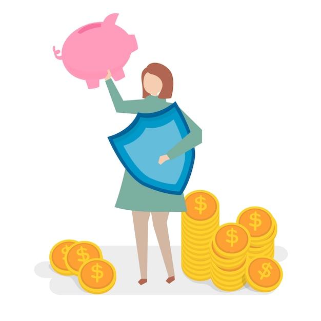 Illustration des finanzversicherungskonzeptes Kostenlosen Vektoren