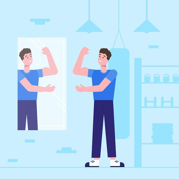 Illustration des flachen selbstwertgefühls des flachen designs mit mann Kostenlosen Vektoren