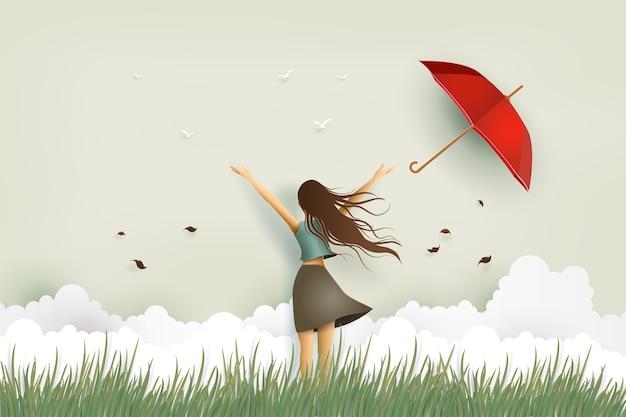 Illustration des frauentages, des lustigen schönen mädchens und des roten regenschirmes auf dem feld. Premium Vektoren