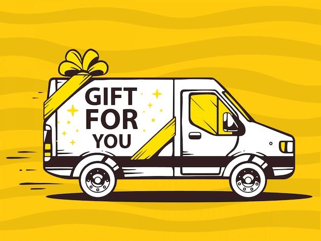 Illustration des freien und schnellen liefergeschenks des lieferwagens zum kunden auf gelbem hintergrund. Premium Vektoren