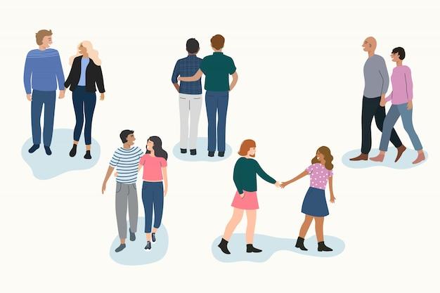 Illustration des gehenden satzes der jungen paare Kostenlosen Vektoren