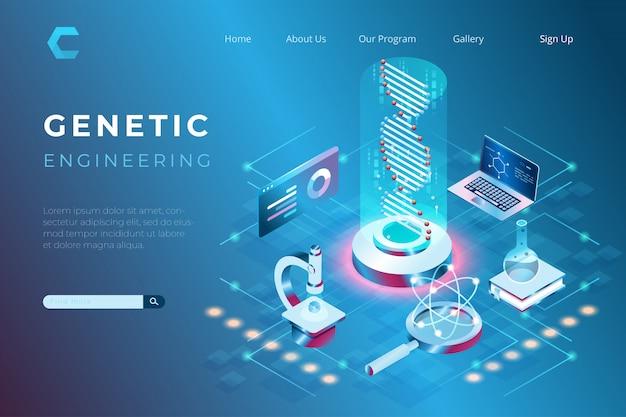 Illustration des gentechnischen labors, der gesundheitsforschung, der genetischen entwicklung im isometrischen 3d-stil Premium Vektoren