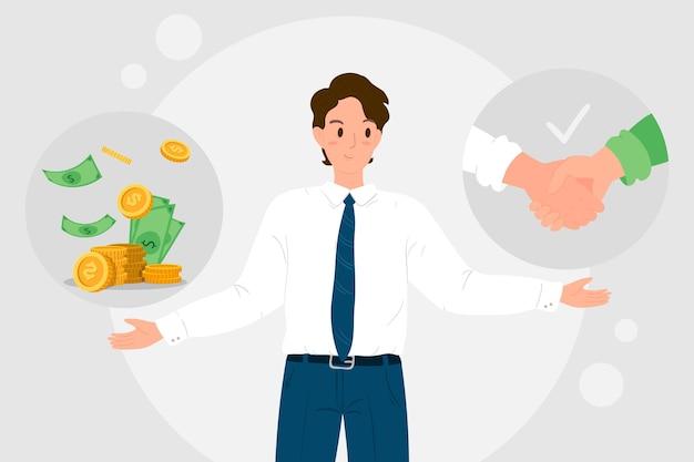 Illustration des geschäftsethikkonzepts Kostenlosen Vektoren