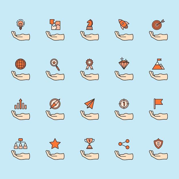Illustration des geschäftsleistungs-ikonensatzes Kostenlosen Vektoren