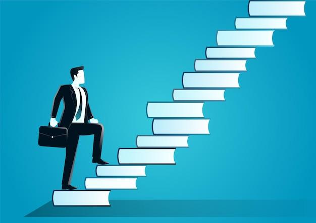 Illustration des geschäftsmannes mit koffer, der die treppe hinaufgeht, die von büchern gemacht wird. beschreiben sie herausforderung, zielgeschäft und wissen. Premium Vektoren