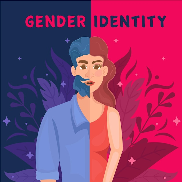 Illustration des geschlechtsidentitätskonzepts mit mann und frau Kostenlosen Vektoren